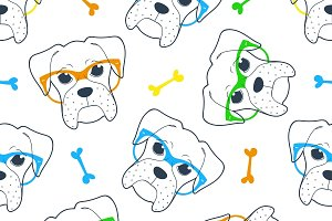 Seamless doodle hipster pattern