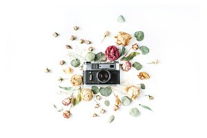 Retro camera, roses and leaves
