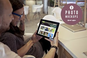Couple using iPad - 9 photo mockups