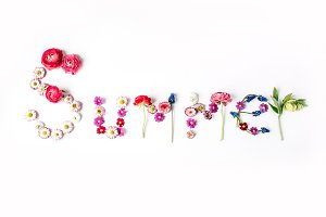 "Word ""Summer"" made with flowers"