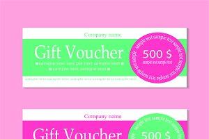 Vector gift voucher pink
