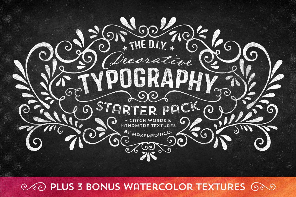 diy decorative typography pack illustrations creative market