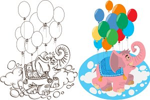 Elephant with balloons.