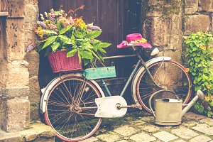 Old bicycle with flowers