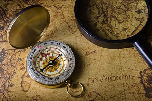 Compass and magnifying