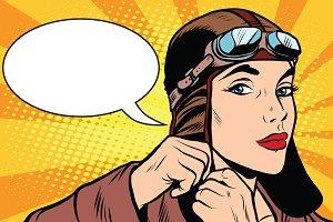 Woman retro military pilot