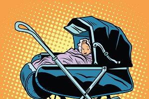 baby nursery retro stroller