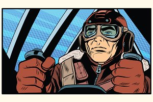 retro military Aviator pilot