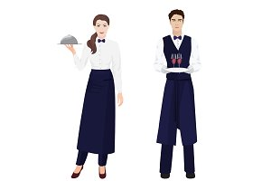 Waiter and Waitress isolated.