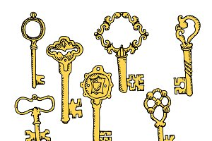 Set of vector hand drawn vintage key
