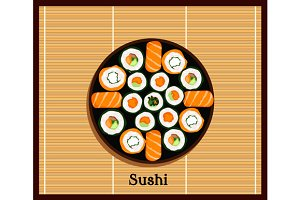 Japanese Food Sushi Design Flat
