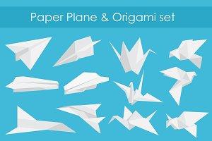 Paper planes & origami birds set.