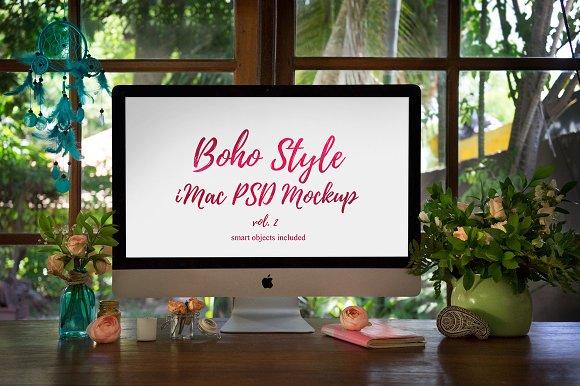 Download Boho Style iMac PSD Mockup — vol. 2