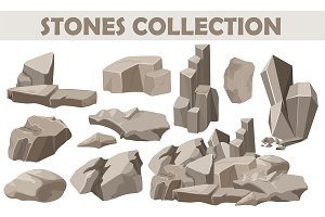 Cartoon Rocks & stones elements set.