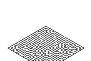 Square labyrinth in isometric view