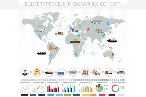 World logistic delivery infographics