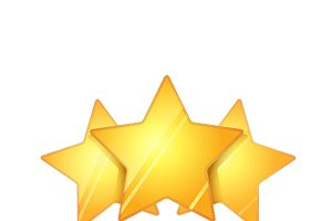 Three glossy golden rating stars