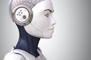 Robot's head in profile