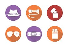 Men's accessories icons. Vector