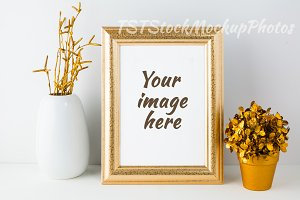 Frame mockup with golden flowerpot