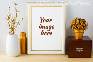 White Frame Mockup with wooden box