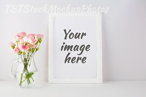 Frame Mockup with bouquet of roses