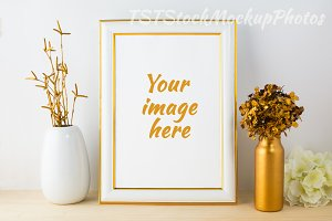 Frame mockup White and gold style
