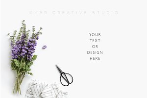 Floral Styled Mockup with scissors