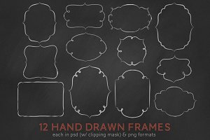 12 (24) hand drawn digital frames