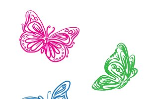 set of butterflies in sketch style
