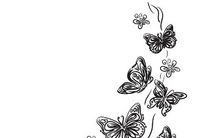 butterfly design, sketch