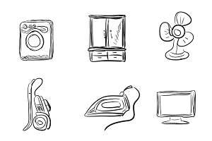 Kitchen appliances, sketch style