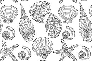 Sea Shells for Coloring Book