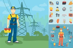 Electrician man pack+icons & concept