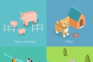 Wild Exotic and Farm Animal Set