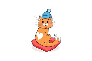 Cat in Hat Isolated Design Flat