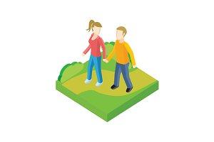 Couple Walk in Park Design Flat