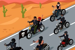 Bikers Riding on the Highway Design