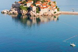 Sveti Stefan coastline (Montenegro).