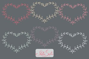 Leafy Hearts Laurel Wreath Clipart
