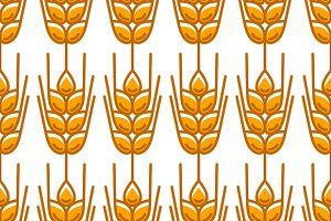 Seamless patterns with wheat.