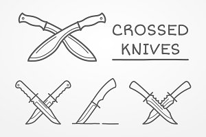 Crossed knives set