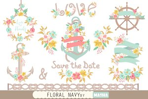 FLORAL NAVY CLIPART