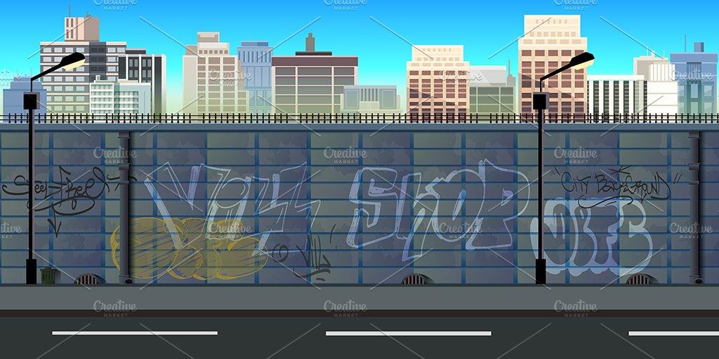 City 2d Background Illustrations Creative Market