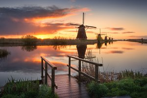 Dutch windmills at sunrise