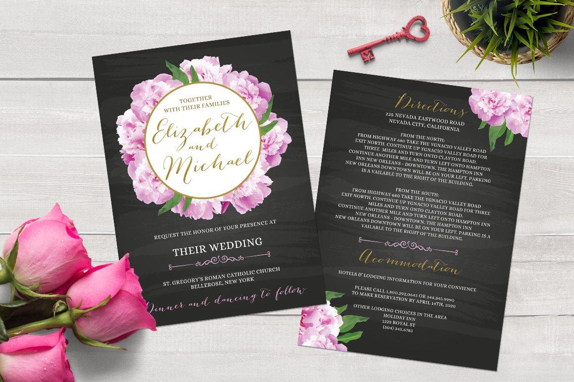 Chalkboard Peony Wedding Invitation Templates Creative Market
