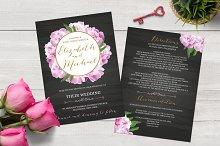 Chalkboard Peony Wedding Invitation