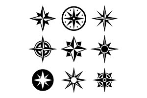 Compass and wind rose icons set