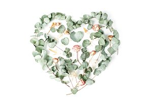 Heart made with roses and leaves