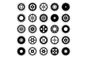 Gear wheel icons set